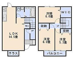 [テラスハウス] 広島県広島市安佐南区長束3丁目 の賃貸【/】の間取り