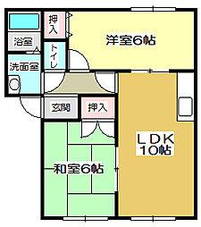 福岡県北九州市小倉南区横代北町2丁目の賃貸アパートの間取り