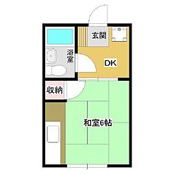 山内アパート[1DK号室]の間取り