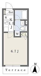 元日マンション South 1階1Kの間取り