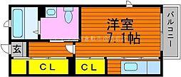 岡山県倉敷市美和1の賃貸アパートの間取り
