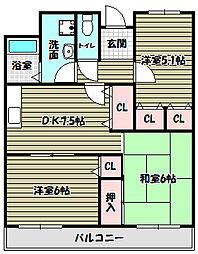 ジェントリーT・M・Y[2階]の間取り