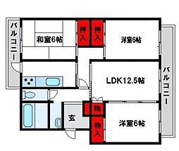 福岡県宗像市自由ヶ丘8丁目の賃貸マンションの間取り