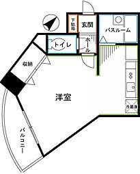 JR中央本線 国分寺駅 徒歩2分の賃貸マンション 4階ワンルームの間取り