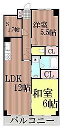 東京都大田区大森東5丁目の賃貸マンションの間取り