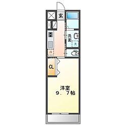 JR内房線 袖ヶ浦駅 徒歩10分の賃貸アパート 2階1Kの間取り