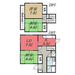 JR総武本線 八街駅 バス26分 四木コミュニティセンター下車 徒歩4分の賃貸一戸建て 1階3LDKの間取り