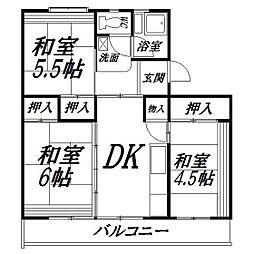 静岡県浜松市中区佐鳴台2の賃貸マンションの間取り