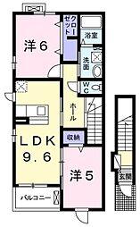 レジデンス愛B[2階]の間取り