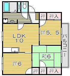 大阪府吹田市岸部中5丁目の賃貸アパートの間取り