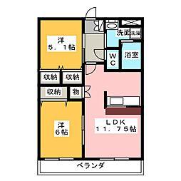 愛知県名古屋市緑区有松幕山の賃貸アパートの間取り