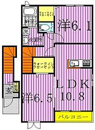 千葉県野田市清水公園東1丁目の賃貸アパートの間取り