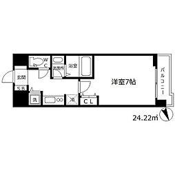 ラヴ神戸三宮 12階1Kの間取り