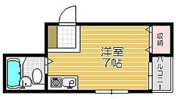 Osaka Metro谷町線 大日駅 徒歩8分の賃貸マンション 3階ワンルームの間取り