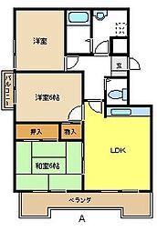 愛知県名古屋市天白区中平1の賃貸マンションの間取り