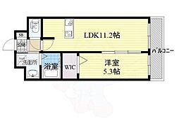 プレデコート西京極 2階1LDKの間取り