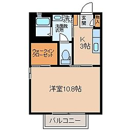 JR中央本線 下諏訪駅 徒歩13分の賃貸アパート 1階1Kの間取り