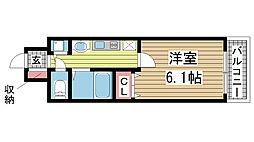 プレミアムコート神戸三宮[6階]の間取り