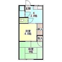 伊藤アパート[2B号室]の間取り