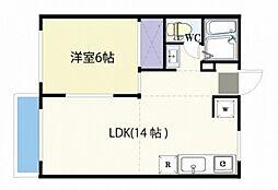 JR山陽本線 西川原駅 徒歩5分の賃貸アパート 1階1LDKの間取り