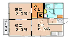 福岡県福岡市博多区諸岡2丁目の賃貸アパートの間取り