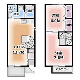 [テラスハウス] 愛知県北名古屋市九之坪 の賃貸【/】の間取り