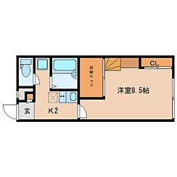 奈良県奈良市南京終町の賃貸アパートの間取り