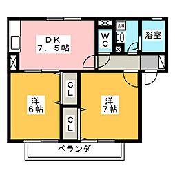 静岡県静岡市清水区半左衛門新田の賃貸アパートの間取り