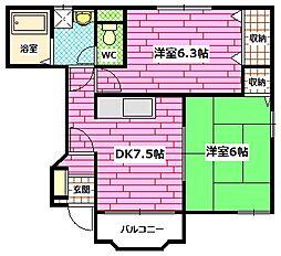 広島県安芸郡熊野町城之堀10丁目の賃貸アパートの間取り