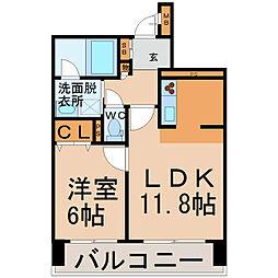 愛知県名古屋市熱田区伝馬1丁目の賃貸マンションの間取り
