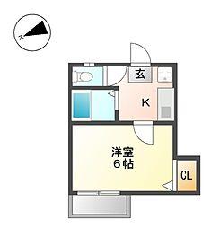 愛知県名古屋市西区児玉2丁目の賃貸アパートの間取り