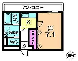 近鉄京都線 高の原駅 徒歩16分の賃貸アパート 2階1Kの間取り