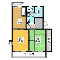 シャロームハイツ[2階]の間取り
