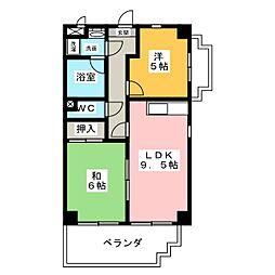 アムール中平[4階]の間取り