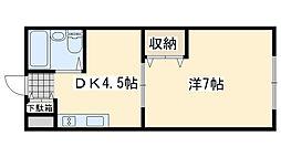 ワンルームマンション喜田[17号室]の間取り