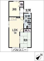 コゥジィーコートB[2階]の間取り