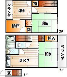 福岡県北九州市小倉南区田原新町1丁目の賃貸アパートの間取り