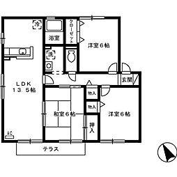 リッツハウス A棟[102号室]の間取り