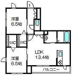 埼玉県さいたま市中央区上峰2の賃貸アパートの間取り