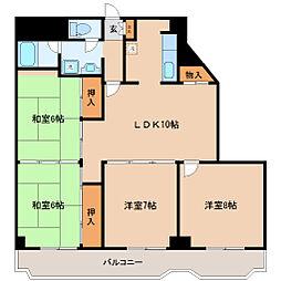 JR仙石線 榴ヶ岡駅 徒歩14分の賃貸マンション 5階4LDKの間取り