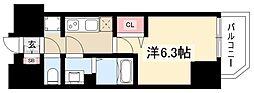 プレサンスTHEMOTOYAMA 9階1Kの間取り