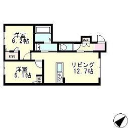 滋賀県大津市木の岡町の賃貸アパートの間取り