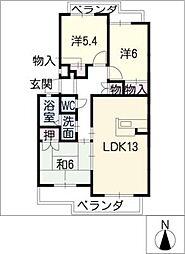 プチシャトー五軒家[3階]の間取り