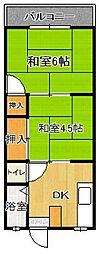 福岡県福岡市中央区伊崎の賃貸アパートの間取り