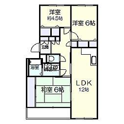 ガーデンヒルズ六高台B棟[202号室]の間取り