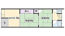松本文化 2階2DKの間取り