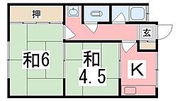 垣内アパート[23号室]の間取り