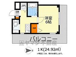 阪急箕面線 箕面駅 徒歩4分の賃貸マンション 3階1Kの間取り