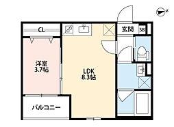 阪急宝塚本線 池田駅 徒歩13分の賃貸アパート 1階1LDKの間取り