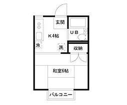 千葉県千葉市花見川区長作台2の賃貸アパートの間取り